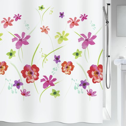 Штора для ванной Spirella Flower Meadow, 180x200см, текстиль, белый 1019253