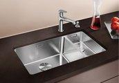 Кухонная мойка без крыла, основная чаша слева, с клапаном-автоматом, нержавеющая сталь зеркальной полировки Blanco Andano 500/180-U 520829