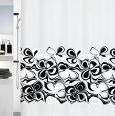 Штора для ванны 180x200см текстильная чёрно-белая Spirella SIXTY 1013170