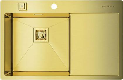 Кухонная мойка с правым крылом, нержавеющая сталь, золото Omoikiri Akisame 78-LG-L 4993085