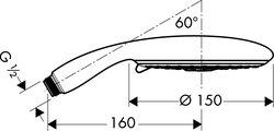 Ручной душ, 3 вида струи, хром Hansgrohe Raindance E 150 Air 28518000