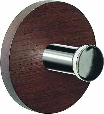 Декоративный крючок самоклеящийся деревянный круглый 50мм коричневый, хром Spirella Punt-Round 1014773