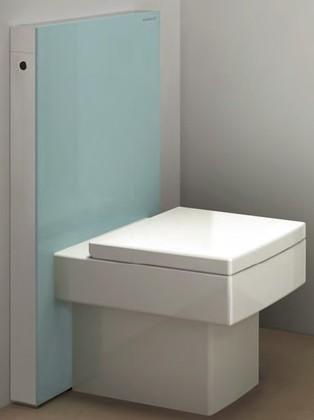 Сантехнический модуль (инсталляция) для установки напольного унитаза, стекло мятно-зелёное / алюминий Geberit MONOLITH 131.004.SK.1