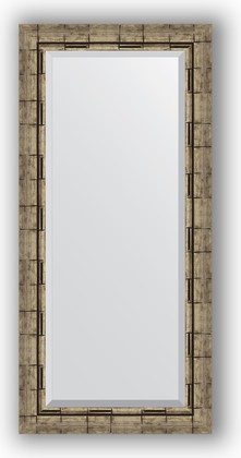 Зеркало 53x113см с фацетом 30мм в багетной раме старый бамбук Evoform BY 1146