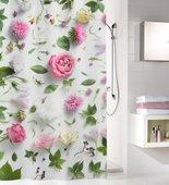 Шторка для ванной Kleine Wolke Rosalie Multicolor, 180x200см, полиэстер, розовая 5910148305