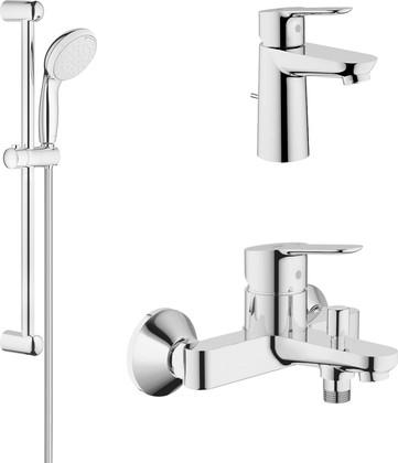 Набор смесителей для ванны Grohe BauEdge 3в1, с душевым гарнитуром 2jet, хром 122271