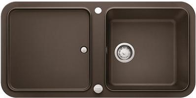 Кухонная мойка оборачиваемая с крылом, с клапаном-автоматом, гранит, кофе Blanco Yova XL 6 S 519592