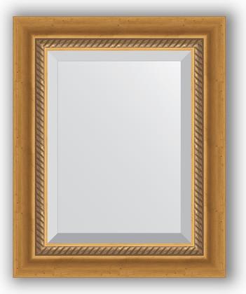 Зеркало с фацетом в багетной раме 43x53см состаренное золото с плетением 70мм Evoform BY 3353