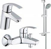 Комплект из душевого гарнитура и смесителей для ванны и раковины Grohe Eurosmart 124446