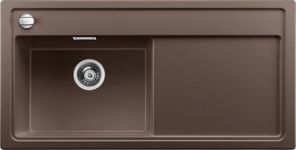 Кухонная мойка чаша слева, крыло справа, с клапаном-автоматом, гранит, кофе Blanco Zenar XL 6 S-F 519205