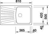 BLANCO NOVA 45 S Схема с размерами: вид сверху