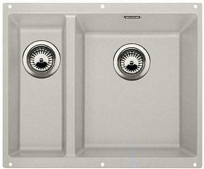 Кухонная мойка без крыла, основная чаша справа, с клапаном-автоматом, гранит, жемчужный Blanco Subline 340/160-U 520405