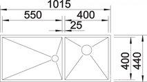 BLANCO ZEROX 400/550-T-IF Схема с размерами вид сверху