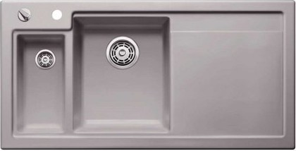 Кухонная мойка чаши слева, крыло справа, с клапаном-автоматом, с коландером, керамика, базальт Blanco Axon II 6 S PuraPlus 516553