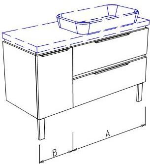 Тумба напольная, 2 ящика и дверь слева, без столешницы и раковины 125х50х50см Verona Ampio AM206.A090.B035.000