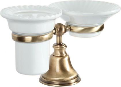 Держатель настольный с мыльницей и стаканом керамика, бронза TW Harmony TWHA141br