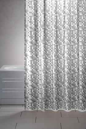 Штора для ванны 180x200см серая с кольцами 12шт Grund Mosaico 2179.98.1003