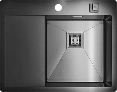 Кухонная мойка с левым крылом, нержавеющая вороненая сталь Omoikiri Akisame 65-GM-R 4993098