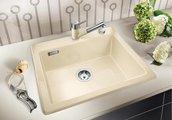 Кухонная мойка без крыла, с клапаном-автоматом, керамика, глянцевый белый Blanco Palona 6 520922