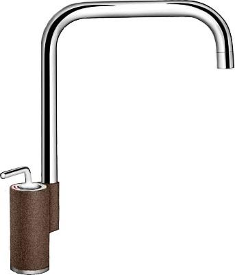 Кухонный однорычажный смеситель в высоким изливом, хром / кофе Blanco AJARIS 520821