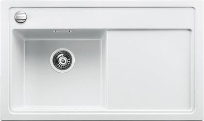 Кухонная мойка чаша слева, крыло справа, с клапаном-автоматом, гранит, белый Blanco Zenar 45 S-F 519193