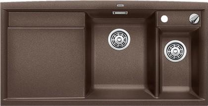 Кухонная мойка чаши справа, крыло слева, с клапаном-автоматом, с коландером, гранит, кофе Blanco AXIA II 6 S 516827