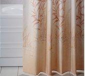 Штора для ванны 180x200см текстильная бежевая с кольцами 12шт Grund Canneto 2164.98.136