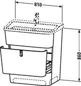 Тумба напольная под раковину, 860x810мм, белый структурный Duravit ESPLANADE ES905105656