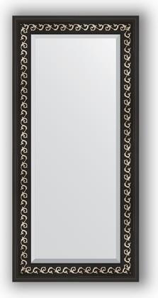 Зеркало 55x115см с фацетом 30мм в багетной раме чёрный ардеко Evoform BY 1145
