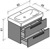 Тумба с раковиной Verona Optima 80, подвесная, два ящика, врезные ручки, LVS панели Ot224L