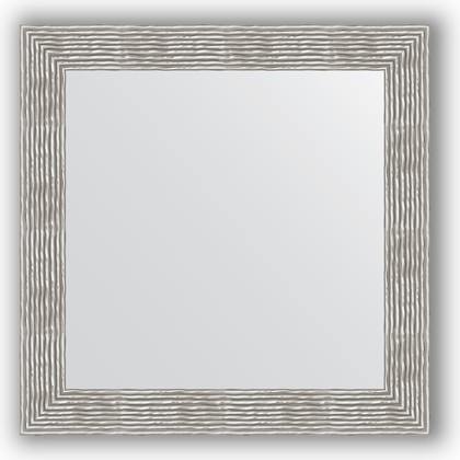 Зеркало в багетной раме 80x80см волна хром 90мм Evoform BY 3249