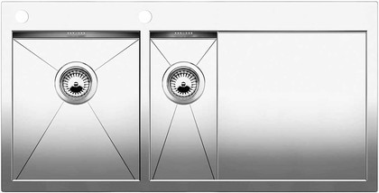 Кухонная мойка чаши слева, крыло справа, с клапаном-автоматом, нержавеющая сталь зеркальной полировки Blanco ZEROX 6 S-IF/A 513759