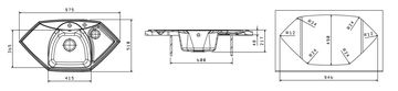 Кухонная мойка Florentina Сардиния, 980x510мм, серый 20.150.D0980.305