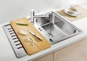 Кухонная мойка оборачиваемая с крылом, с клапаном-автоматом, нержавеющая сталь зеркальной полировки Blanco Classic PRO 45 S-IF 516842