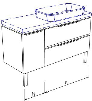 Тумба напольная с раковиной, 2 ящика, 1 дверца 140x50x76см Verona Ampio AM206.A100.B040.C000