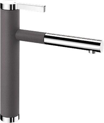 Смеситель кухонный однорычажный с выдвижным изливом, тёмная скала / хром Blanco LINEE-S 518804