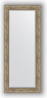 Зеркало с фацетом в багетной раме 60x145см виньетка античное серебро 85мм Evoform BY 3539