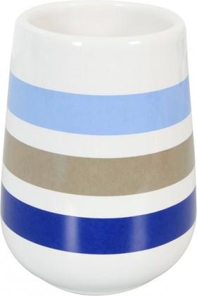 Стакан керамический белый в синюю полоску Spirella Rayures 4007047