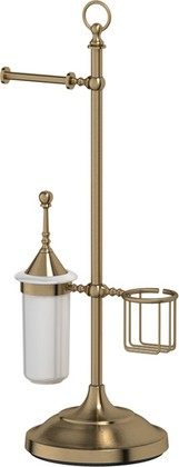 Стойка 3SC с держателем туалетной бумаги, освежителя и ёршиком, античная бронза STI 534