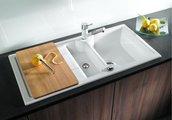 Кухонная мойка оборачиваемая с крылом, с клапаном-автоматом, керамика, магнолия глянцевая Blanco Idessa 6 S 519605