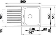 BLANCO CLASSIC PRO 45 S-IF Схема с размерами вид сверху