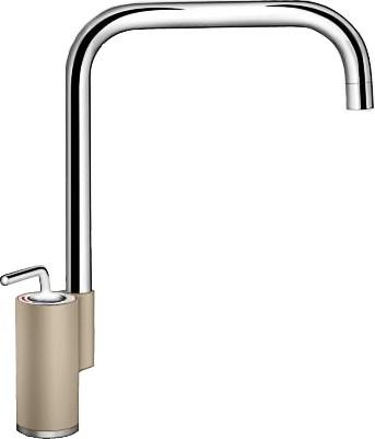 Кухонный однорычажный смеситель в высоким изливом, хром / серый беж Blanco AJARIS 520820