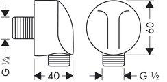 Угловое соединение для душевого шланга Hansgrohe 27454000