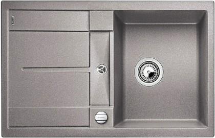 Кухонная мойка оборачиваемая с крылом, с клапаном-автоматом, гранит, алюметаллик Blanco Metra 45 S-F 519082