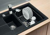 Кухонная мойка оборачиваемая с крылом, с клапаном-автоматом, гранит, серый беж Blanco Metra 6 S Compact 517353