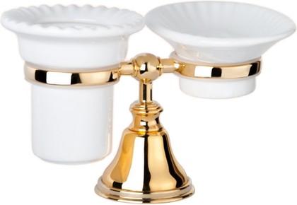 Держатель настольный с мыльницей и стаканом керамика, золото TW Harmony TWHA141oro