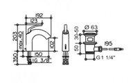 Однорычажный смеситель для умывальника, хром Keuco EDITION PALAIS 54002010000