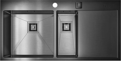 Кухонная мойка с правым крылом, нержавеющая вороненая сталь Omoikiri Akisame 100-2-GM-L 4993103