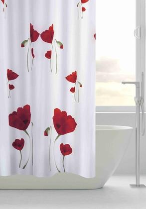 Штора для ванной Grund Papavero, 180x200см, красные маки 852.98.000