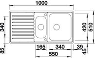 BLANCO CLASSIC PRO 6 S-IF Схема с размерами вид сверху